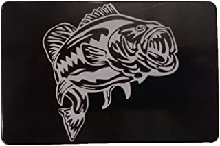 "product image for HMC Billet Large Mouth Bass Aluminum Laser Engraved Trailer Hitch Cover - 4"" x 6"""