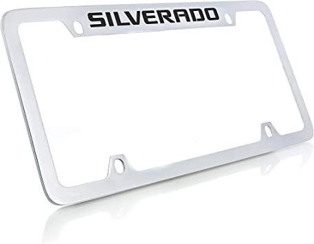 Chevrolet Silverado Black Metal License Plate Frame