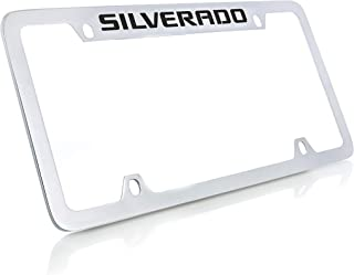 product image for Chevrolet Silverado Chrome Plated Metal Top Engraved License Plate Frame Holder