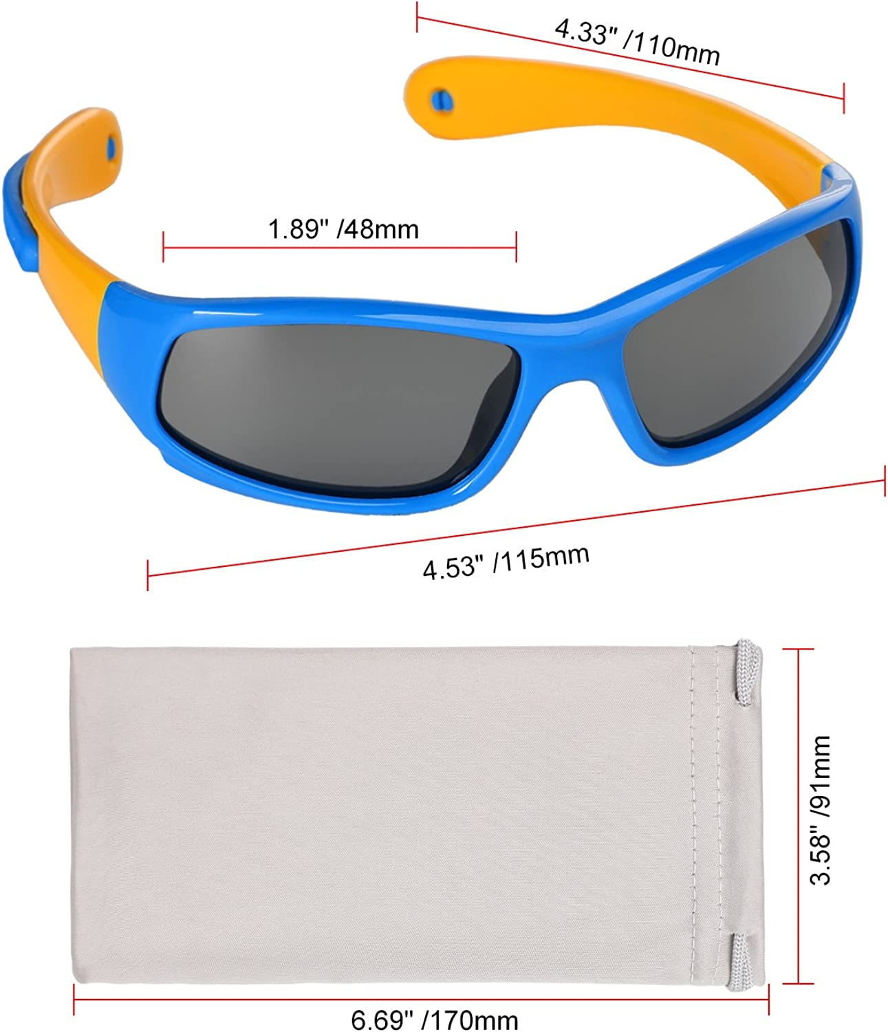 Hifot Baby Boy Girl Sunglasses Rubble Flexible Children Kids Sunglasses UV Protection Polarized Toddler Sunglasses Age 6 Months to 3 Years