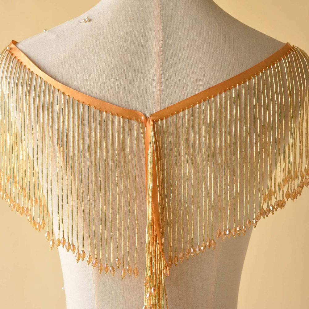 15cm Dangling Fringe Trims Beaded Tassel Trim for Party Dress Costumes Sold by 1 Yard Black