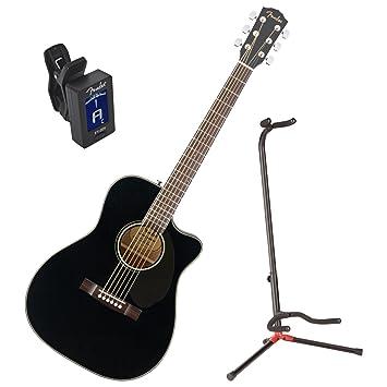 Fender cc-60sce negro parte superior sólida concierto acústico guitarra eléctrica w/stand y sintonizador: Amazon.es: Instrumentos musicales