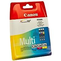 Canon - CLI-526 - Cartouche d'Encre d'Origine - Pack de 3 - Cyan, Magenta, Jaune