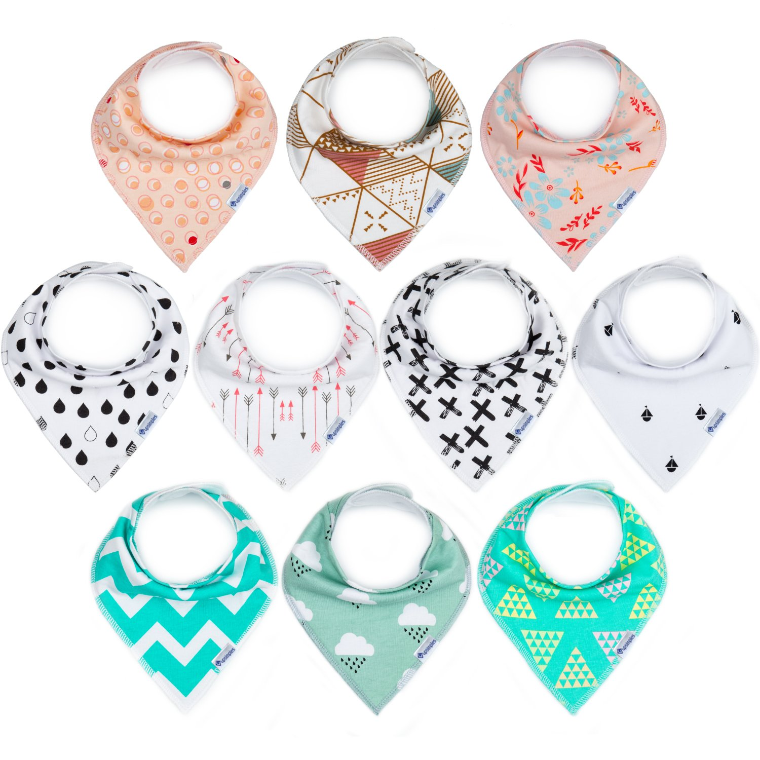 10-Pack Bandana Bibs Upsimples Baby Drool Bibs for Drooling and Teething, 100% Cotton Super Absorbent, 10 Stylish Design for Baby Girls Toddler, Baby Shower Gift Set