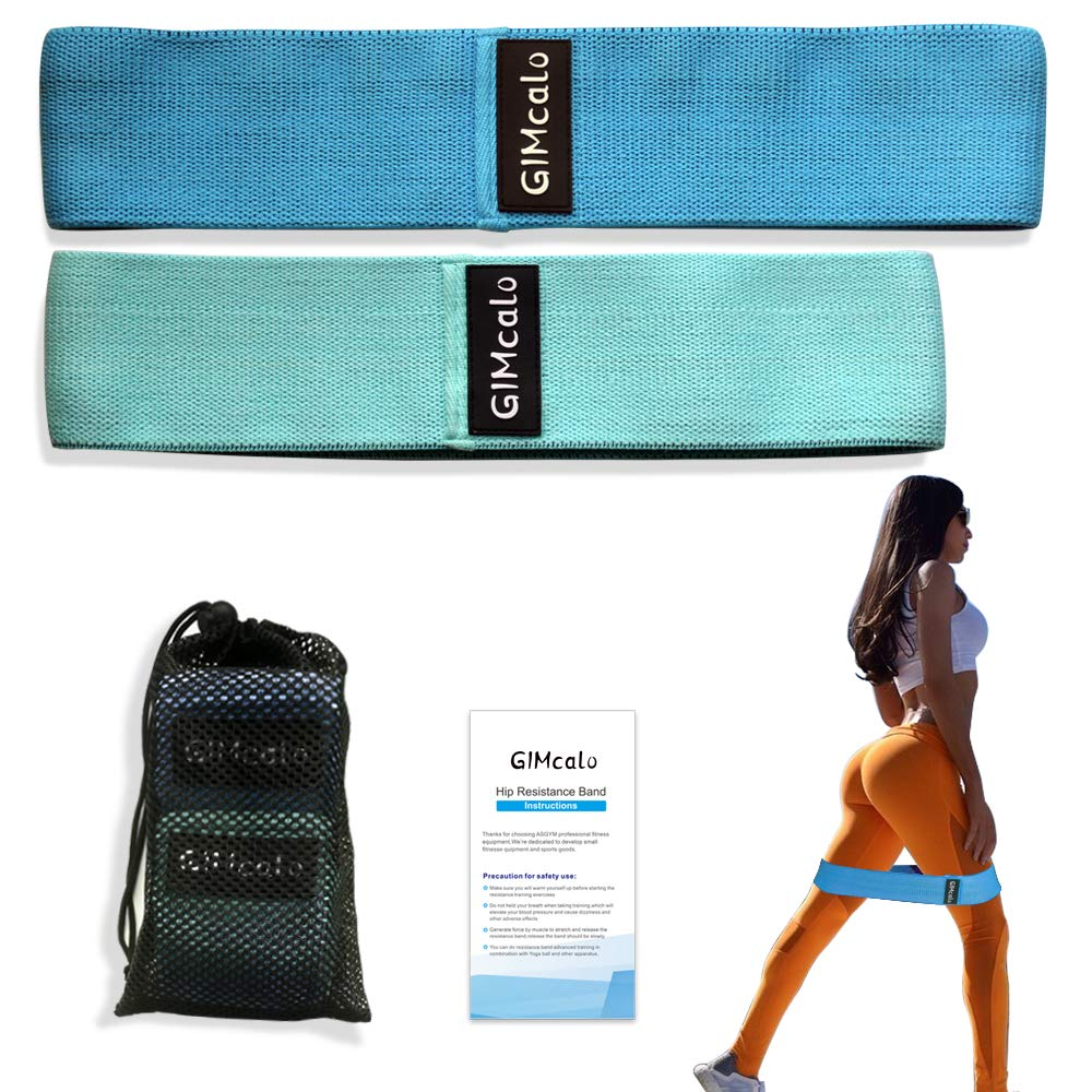 GIMCALO Booty Resistance Bands for Legs and Butt, Non-Slip Thick Elastic Band Exercise, Heavy Fabric Butt Loop Workout for Women Men, Activate Glutes | Thighs, Hip Bands (Green(M)/Blue(L))