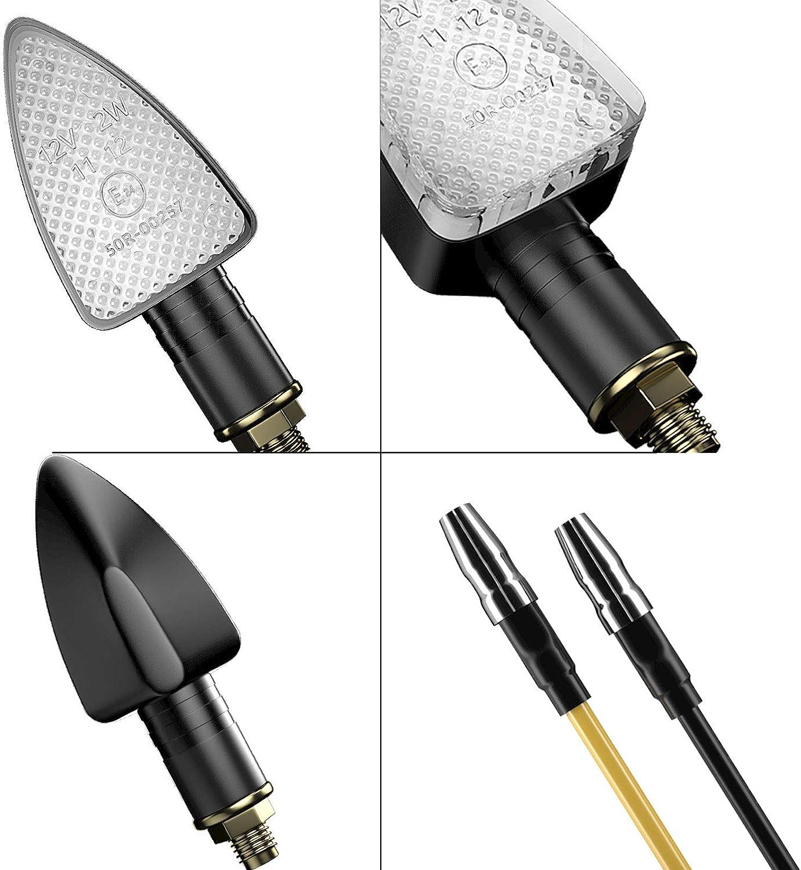 CCAUTOVIE Feux Clignotan Moto LED Indicateur Universel Clignotants Moto LED Ampoule Ambre Clignotant Moto Homologu/ée E24 Amber-4pcs
