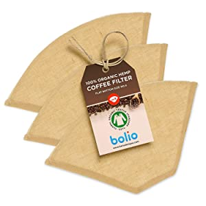 Bolio Organic Hemp Cone Coffee Filter – Reusable and Great for Making Smooth pour Over Coffee - No Plastics - Eco-Friendly Bacteria Resistant Material (Flat bottom, Size No.4, 3-pack)