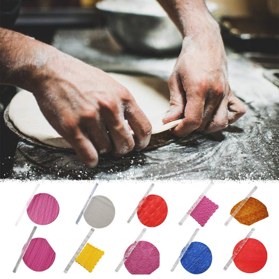 Multicolor Transparente Antiadherente acr/ílico Fondant Rodillo de impresi/ón Rodillo de acr/ílico Tallado Rodillo en Relieve Rodillo