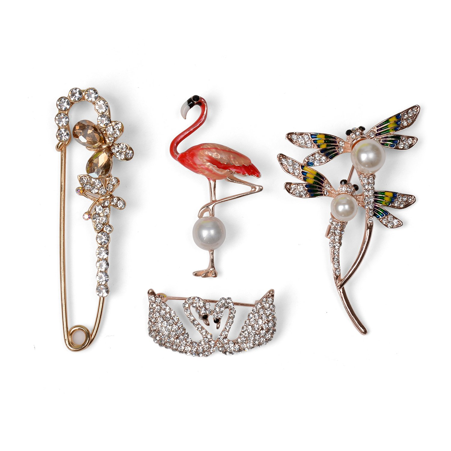 Holylove Brooches Pins Flamingo Dragonfly Swan Butterfly for Women Girl Men Wedding Formal Daily Photograph Bride Bridegroom Crafts 4pcs with Gift Box - HLP1