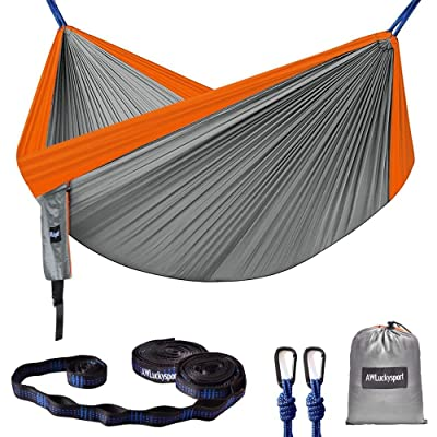 AWLuckysport Hammocks, Blue color, Garden Hammock Ultralight Portable Nylon Parachute Multifunctional Lightweight Hammocks with 2 x Hanging Straps for Backpacking, Travel, Beach, Yard (grey, orange) : Garden & Outdoor