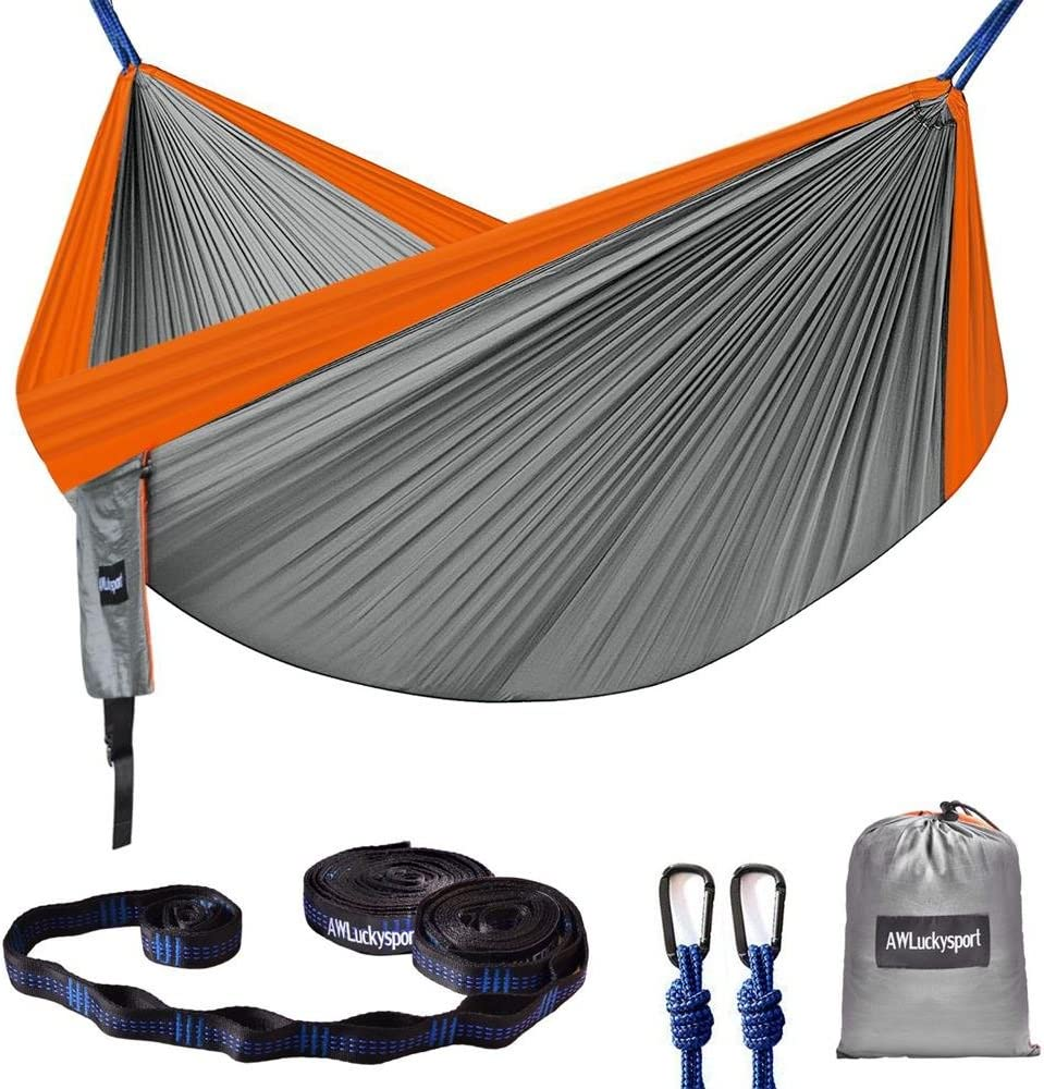 Hammock, Double Camping Hammock Garden Hammock Ultralight Portable Nylon Parachute Multifunctional Lightweight Hammocks with 2 x Hanging Straps for Backpacking, Travel, Beach, Yard