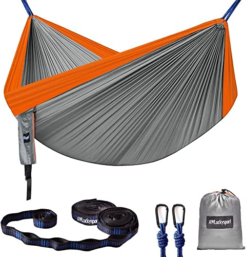 Hammock, Double Camping Hammock Garden Hammock Ultralight Portable Nylon Parachute Multifunctional Lightweight Hammocks with 2 x Hanging Straps for Backpacking, Travel, Beach, Yard
