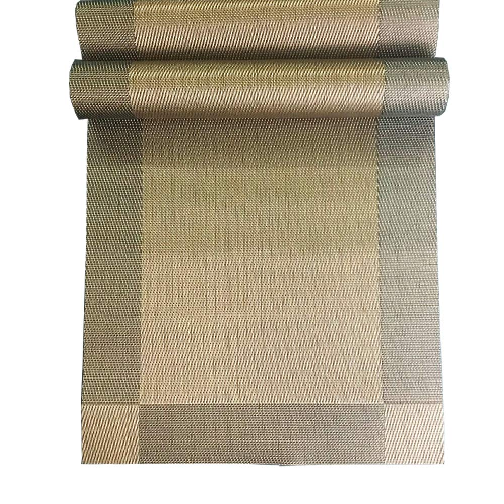 LGHome Table Runner Durable Washable Woven Vinyl Table Runner 12''x72'' Brown Heat Insulation Tablerunner Pack of 2