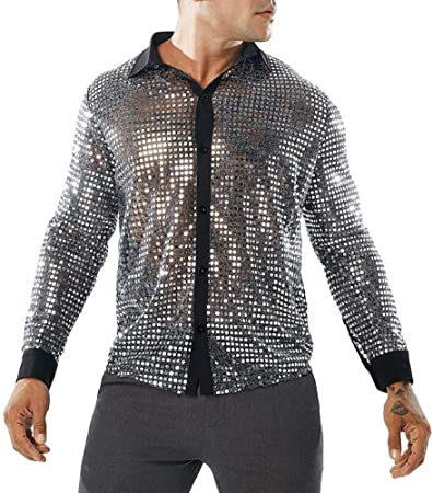 CSDM Camisa de Hombre Camisa Transparente con Lentejuelas Negras de New Men S See a través de Camisa Masculina de Manga Larga Discoteca Shiny Gold Camisa S-2Xl: Amazon.es: Hogar