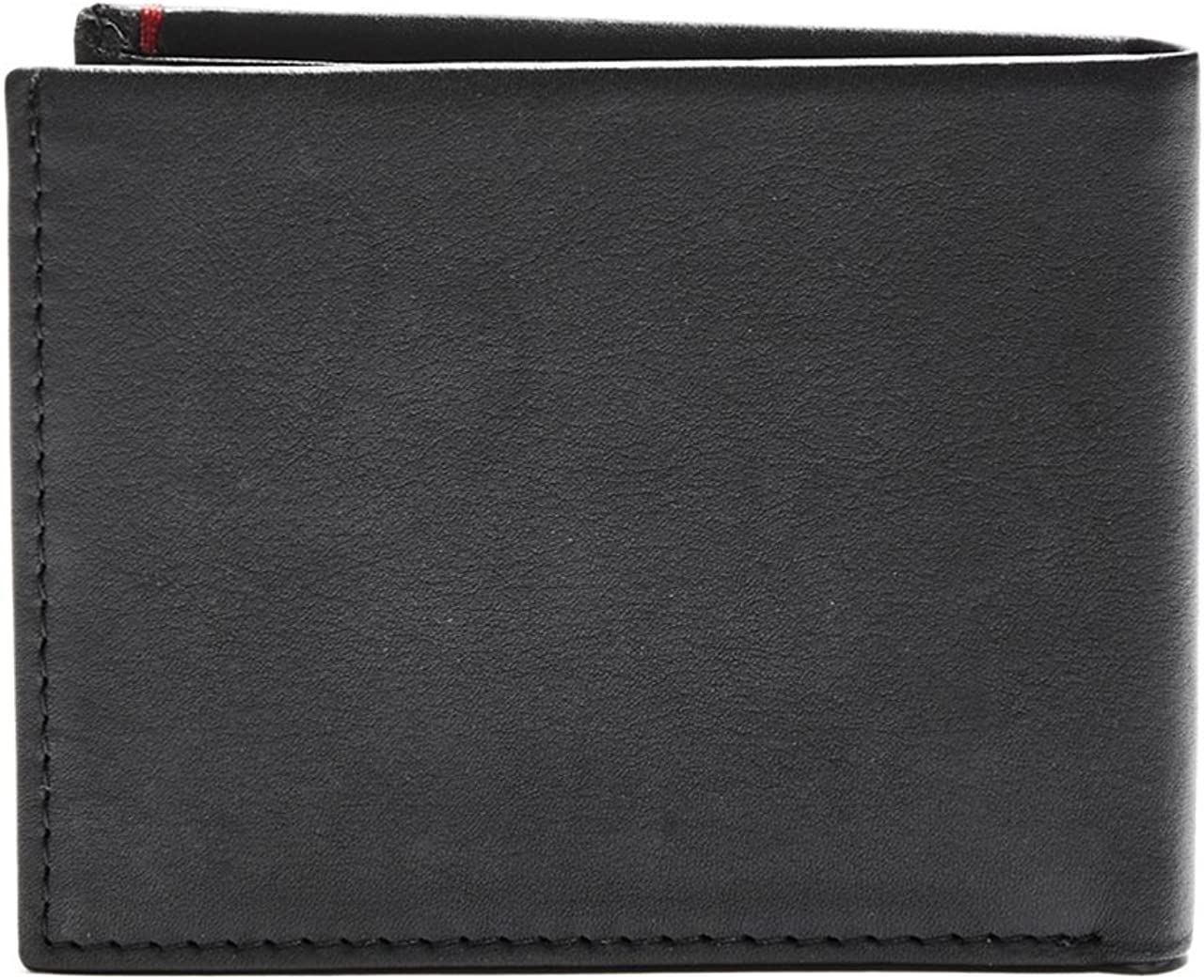 Guess Mens Genuine Leather Slim Card Holder Bifold Wallet with Stitch Details