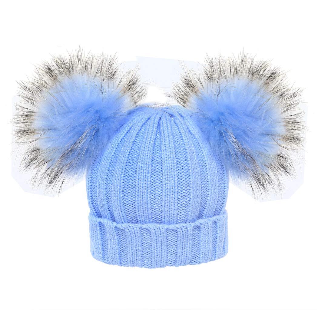 MIOIM Cute Baby Girls Boys Winter Hat Double Faux Fur Beanie Pompom Beanies Ski Cap
