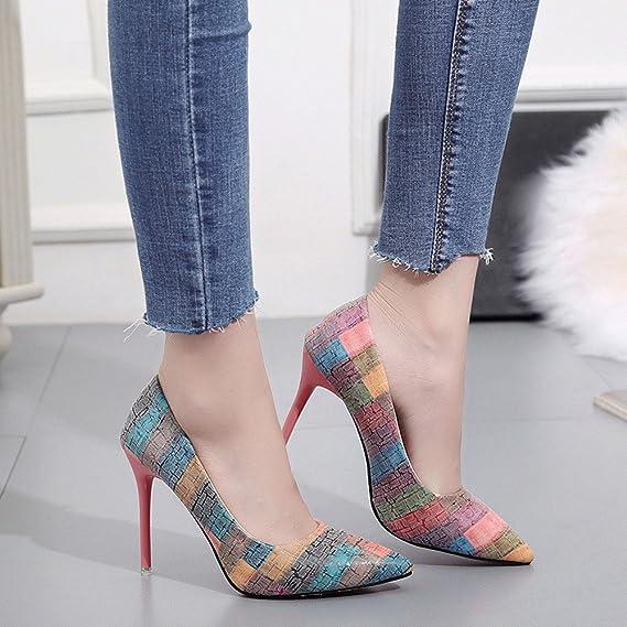 Zapatos mujer tacón alto slip on,Sonnena Zapatos de tacón fino de moda de mujer Impresión salvaje Colores mezclados zapatos de tacones altos punta estrecha: ...