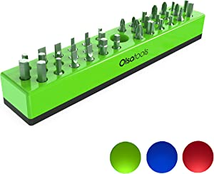 Olsa Tools Hex Bit Organizer with Magnetic Base | Premium Quality Hex Bit Holder for Your Specialty, Drill or Tamper Bits (Green)
