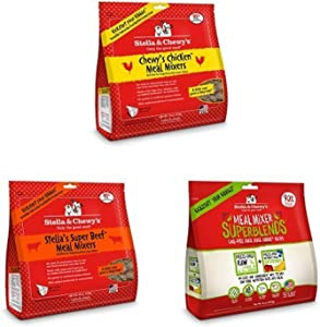 Stella & Chewy'S Freeze-Dried Raw Meal Mixer Dog Food Toppers Variety Pack Of 3 (Beef, Chicken And Duck Superblends), 16 To 18 Oz. Each