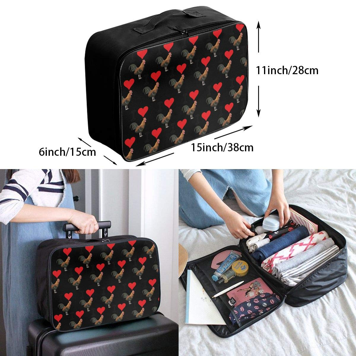 YueLJB I Love Cock Lightweight Large Capacity Portable Luggage Bag Travel Duffel Bag Storage Carry Luggage Duffle Tote Bag
