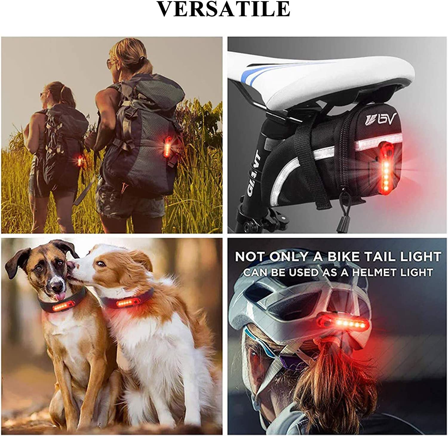 Red /& White Easy to Install Waterproof Cycling Safety Flashlight USB Rechargeable Bicycle Rear Lights YDQUANI LED Bike Taillight 2 Pack 4 Light Modes