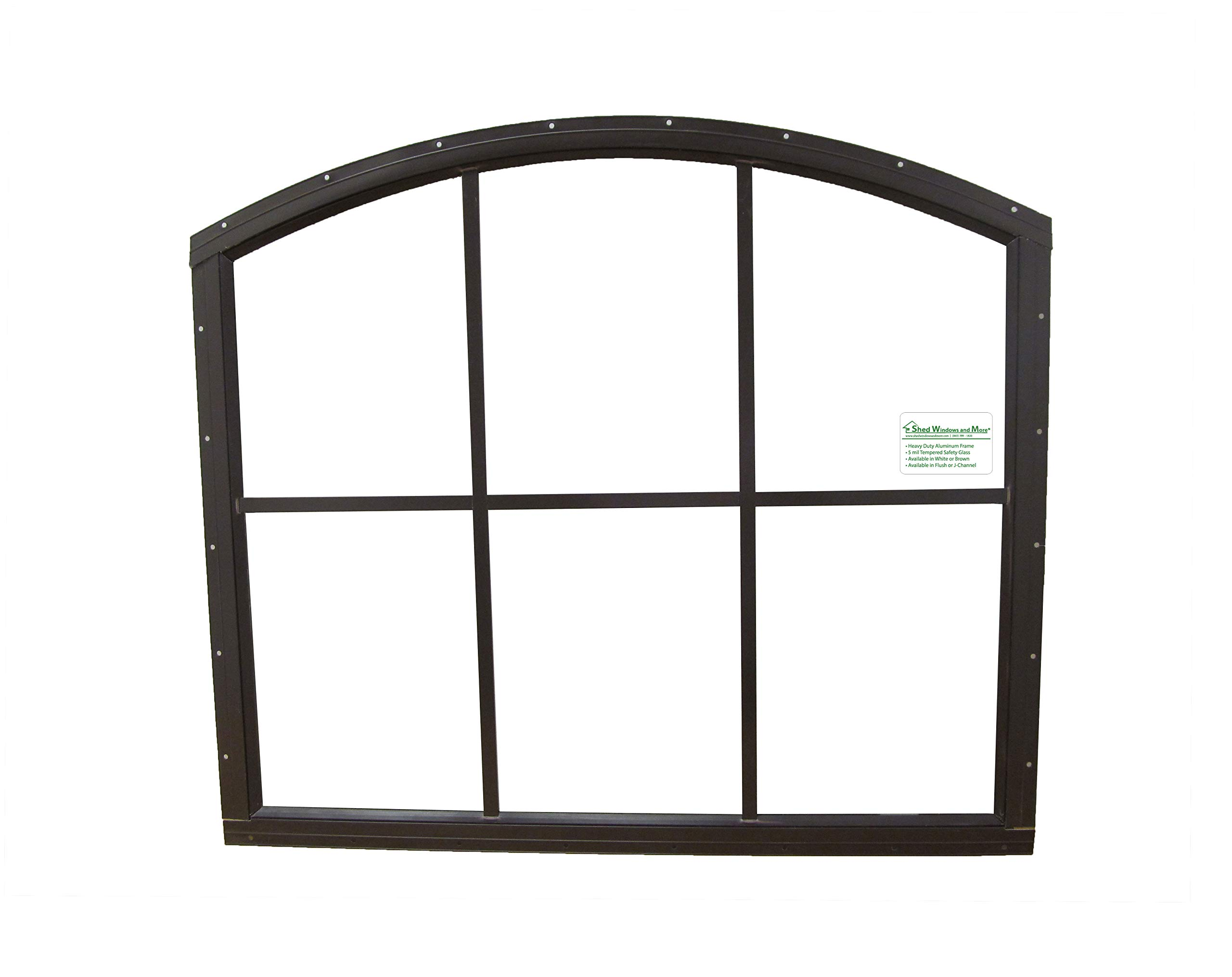 Shed Window 28 X 25 White 6 Lite Arched Top Safety Glass (Brown Flush)