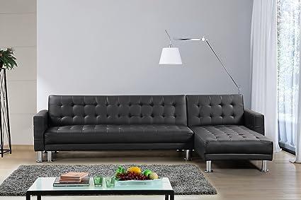 Amazon.com: Velago Attalens Sectional Sleeper Sofa, Black ...
