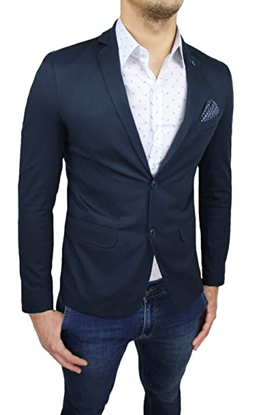 quality design 57e03 86154 Giacca Blazer Uomo Sartoriale Blu Scuro Navy Slim Fit Casual ...
