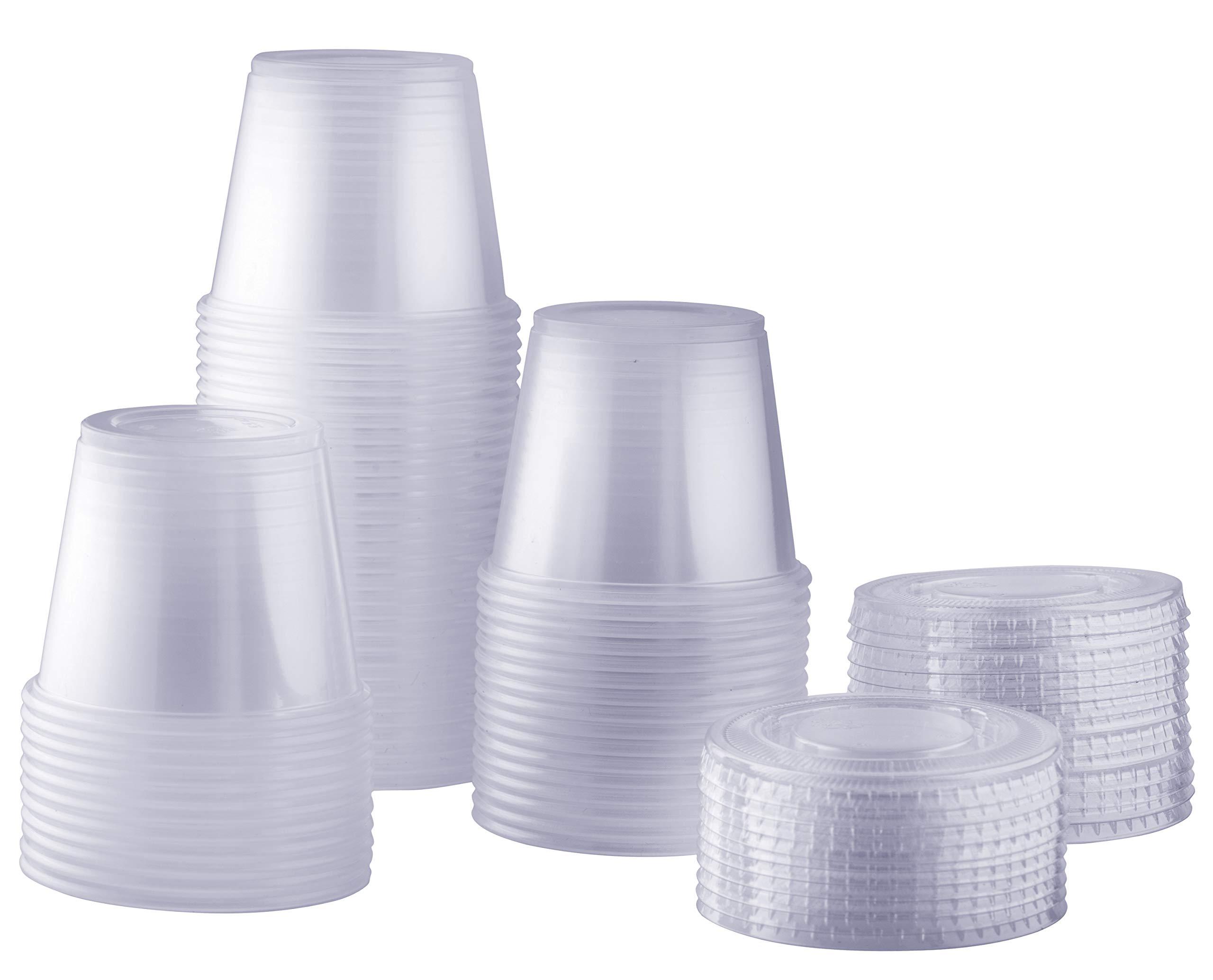 [100 Sets - 5.5 oz.] Plastic Disposable Portion Cups With Lids, Souffle Cups, Condiment Cups