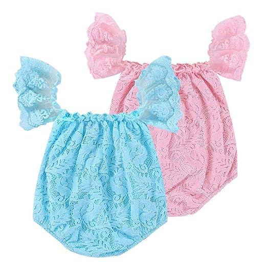 47e9d927161d Amazon.com  Lurryly 2019 Newborn Baby Girls Romper Lace Off Shoulder Jumpsuit  Outfits Infant Clothes 0-24 Months White  Clothing
