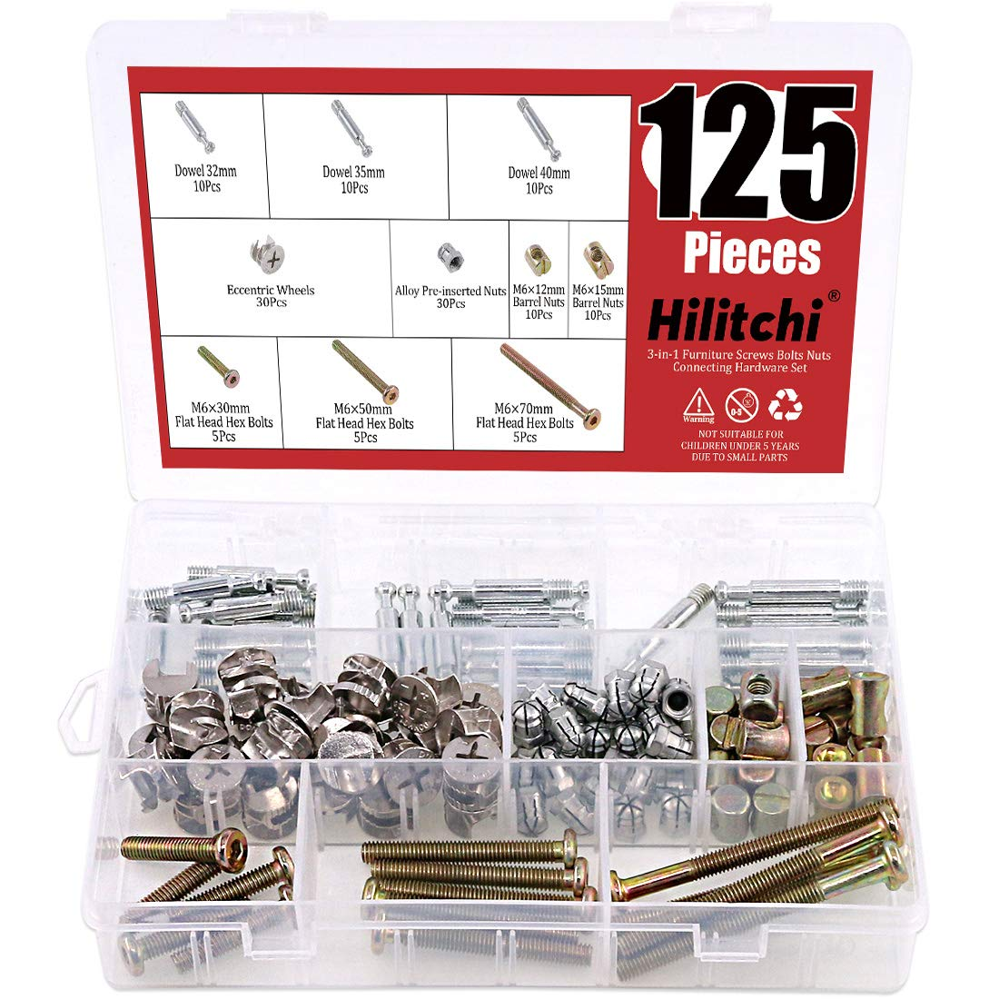 Hilitchi 125 Pcs 3 in 1 Cam Fitting with Dowel and Pre-Inserted Nut with Zinc Plated Hex Drive Socket Cap Furniture Barrel Nuts Crib Screws Assortment Kit for Cabinet Drawer Furniture Connecting