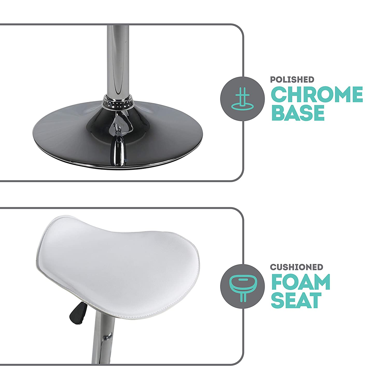 White MIL-BRSTL-A Counter Height Milliard Bar Stools Height Adjustable 21.5-30 Set of 2