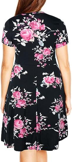 Women's Round Neck Summer Casual Plus Size Midi Dress