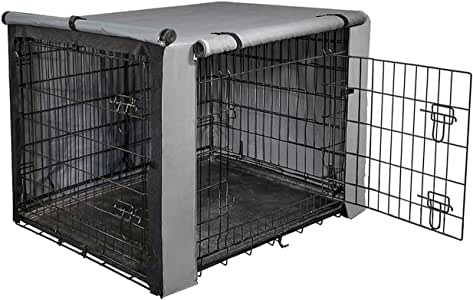 """yotache Dog Crate Cover for 24"""" Small Double Door Wire Dog Cage, Lightweight 600D Polyester Indoor/Outdoor Durable Waterproof & Windproof Pet Kennel Covers, Gray"""