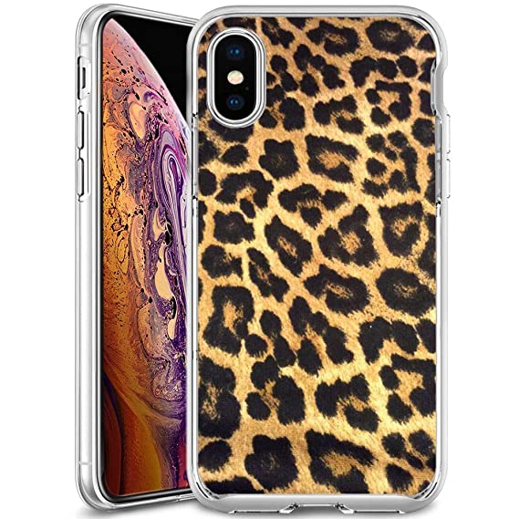 the latest fd82c 2c020 Amazon.com: Leopard Print iPhone Xs Max Clear Phone Case, JQLOVE TPU ...