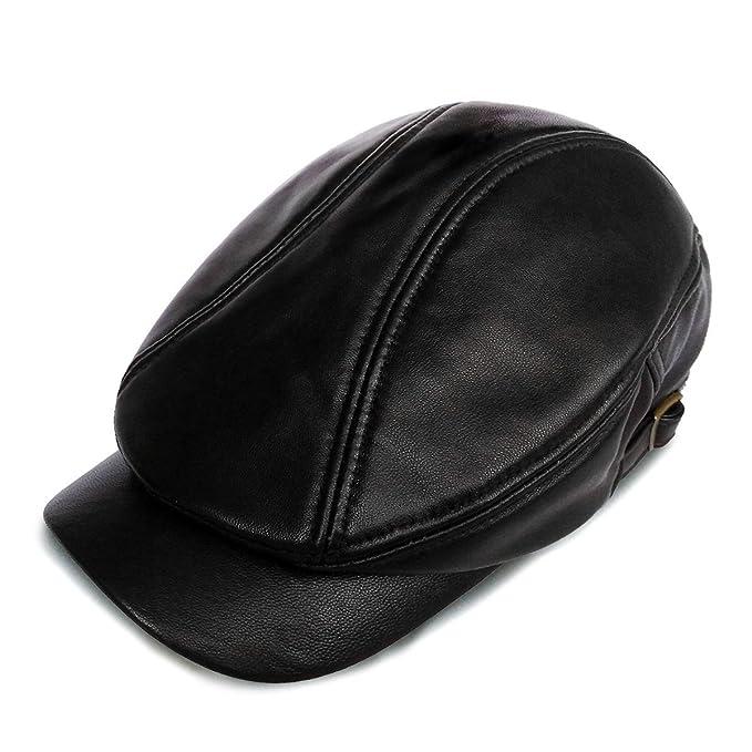 Amazon.com  LETHMIK Genuine Leather Unique Flat Cap Adjustable Irish ... 3fbda2bb04b