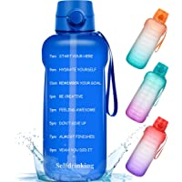 $20 » Half Gallon/64oz Motivational Water Bottle with Time Marker Reminder and Straw, BPA…