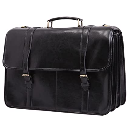 Leathario Men s Deluxe Shoulder Leather 15.6 Inch Laptop Briefcase Business  Office Bag Black  Amazon.co.uk  Luggage 435c7806d50d0