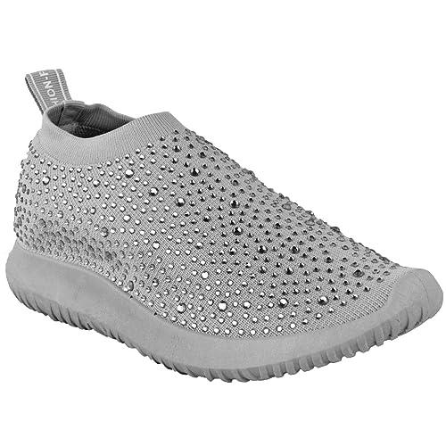Fashion Thirsty Plano Mujer Calcetines Zapatillas Cómodo Diamante Brillo Zapatillas Talla por Heelberry - Gris Punto