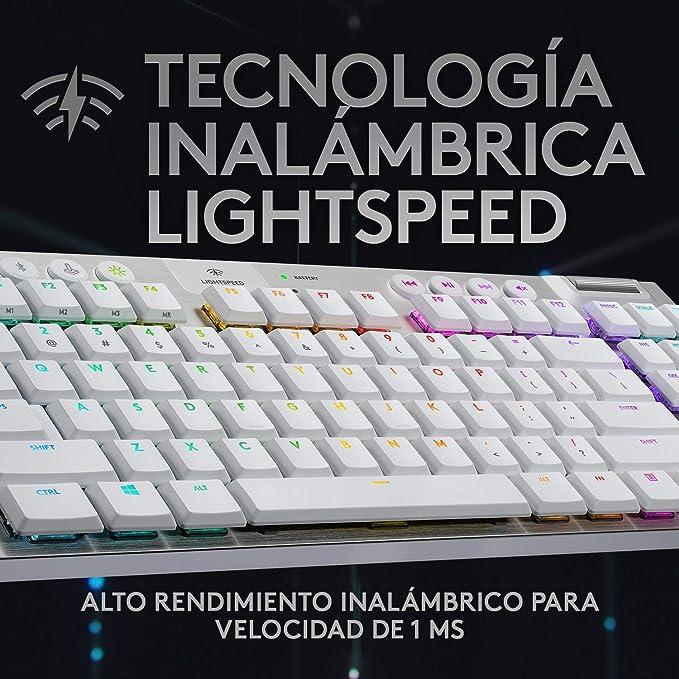 Logitech G915 LIGHTSPEED TKL Teclado Gaming Mecánico Inalámbrico con teclas GL-Táctil de bajo perfil, LIGHTSYNC RGB, Diseño ultra delgado, 40 Horas ...