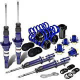 DNA Motoring Blue Shock Absorbers+Scaled Coilover+Top Hat Mount Kit for Civic