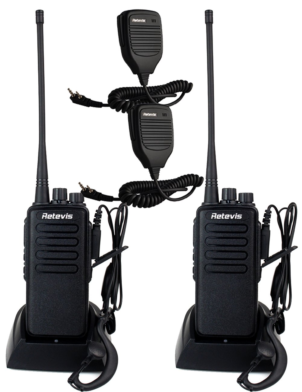 Retevis RT1 10W UHF Rechargeable Two-Way Radio 70CM 16CH VOX Scrambler Handheld Transceiver with Earpiece and Speaker Mic (2 Pack)