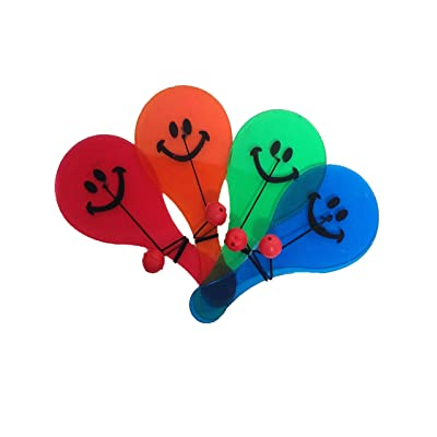 12 Pc Party Favor Fun Smiley Paddle Ball Toy: Toys & Games