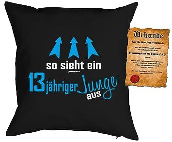 Geschenk Fur Kinder Kissen Mit Fullung Und Urkunde So Sieht Ein 13