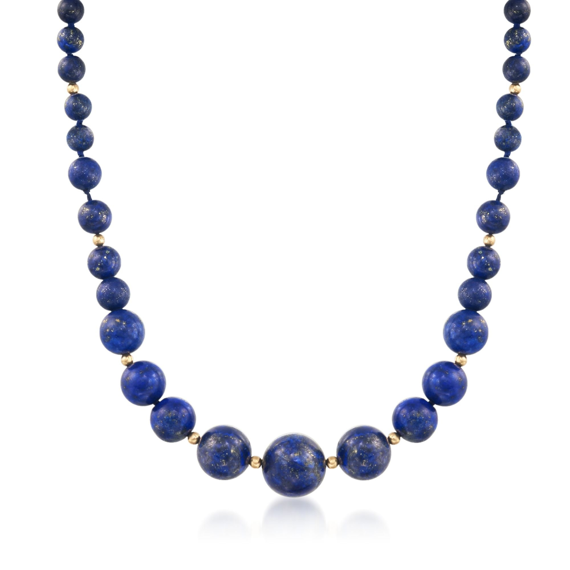 Ross-Simons 6-13mm Lapis Bead Graduated Necklace With 14kt Yellow Gold by Ross-Simons