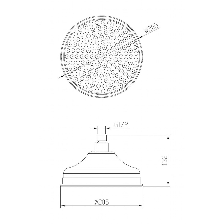 ENKI Soffione fisso per doccia ampio rotondo ottone//bronzo anticato