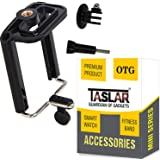 Taslar Tripod Monopod Mount Adapter For Mobile Phone, Smartphones With Universal Mobile Holder & Long Screw Accessory - Black