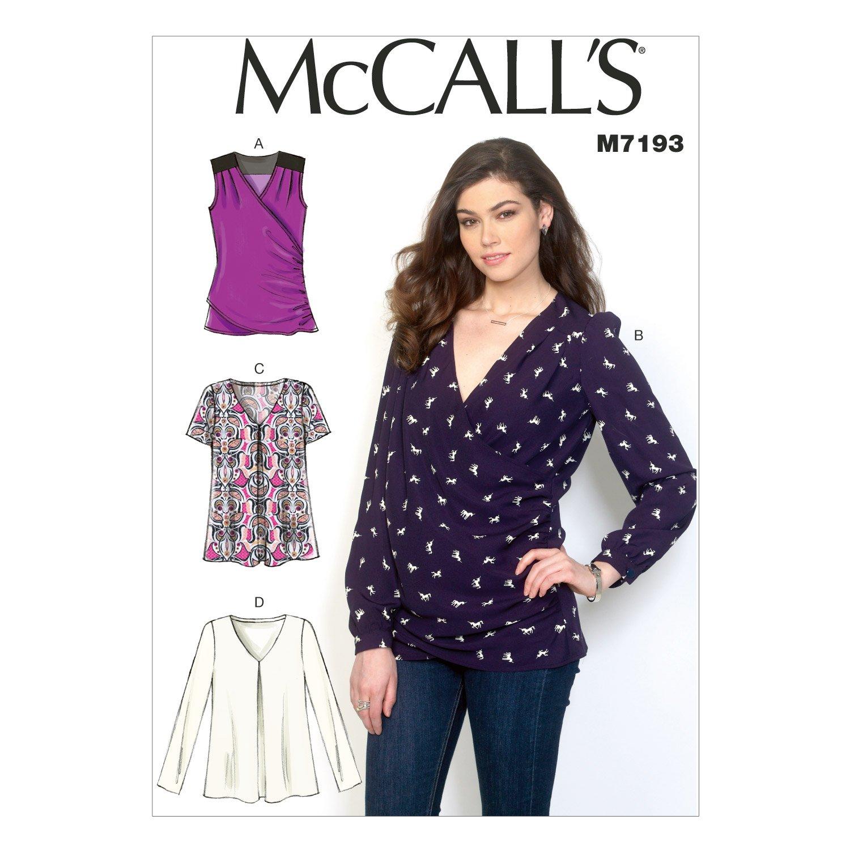 McCalls Patterns 7247 E5,Misses Tops,Sizes 14-16-18-20-22