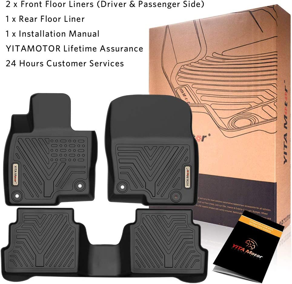 1st /& 2nd Row All Weather Protection Custom Fit Floor Liners for 2017-2020 Mazda CX5 YITAMOTOR Floor Mats Compatible with Mazda CX-5