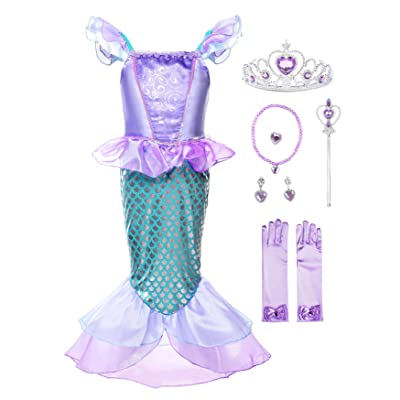 JerrisApparel Girls Princess Mermaid Costume Cosplay Party Dress: Clothing